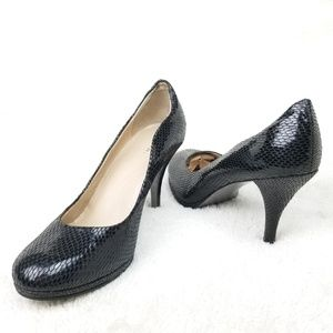Tahari Colette Black Textured Pumps 9m Womens heel